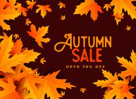 autumn sale banner design with leaves