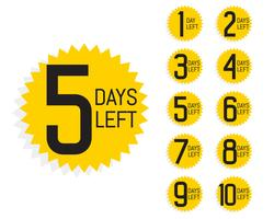 number of days left label for sale and promotion