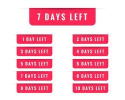 number of days left badge or label design
