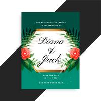 wedding invitation floral card design with flower and leaves