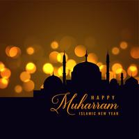 beautiful happy muharram islamic new year background