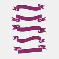 3d flat purple ribbons banner set