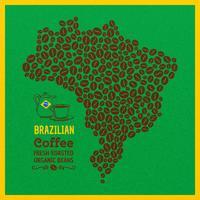 Mapa do Brasil de grãos de café de fundo Vector