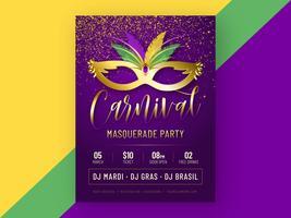 Modelo de vetor de cartaz de festa de carnaval masquerade