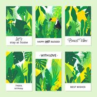 Creative Tropical Brazilian Vector Note Cards