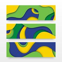 Paper Cut Layered Banners In Brazil Flag Colors