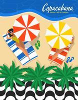 Rio De Janeiro Copacabana Beach Vector Illustration