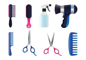 Conjunto de herramientas de salón realista