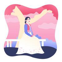 Dame im Hanbok-Vektor
