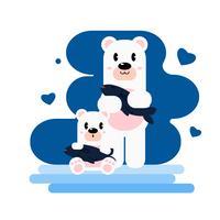 Adorável urso mãe e filhote de cachorro