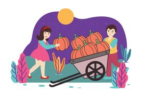 Kids with Pumpkins Vector