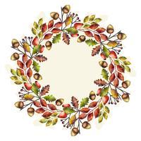 Coroa de flores em aquarela de outono de vetor