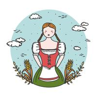 Lady In Dirndl Vector