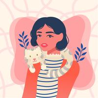 Girl and Her Cat Vector