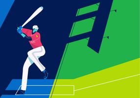 Baseball-player-playing-on-field-vector-flat-background-illustration