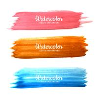 Abstract colorful hand drawn watercolor stroke design set