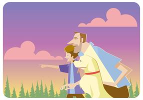 A Dog And Family Vector