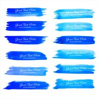 Abstract blue watercolor stroke set vector design