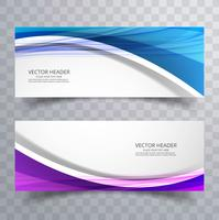Abstract beautiful creative business wave header set vector