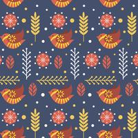 Flat Cute Scandinavian Folk Pattern Vector Template