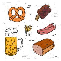 Doodle Beierse voedsel Vector