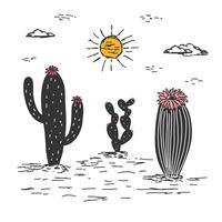 Flor del desierto Linocut Vector