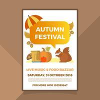 plantilla de vector de cartel de otoño otoño plano del festival