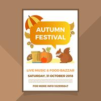 Platte herfst herfst Festival Poster Vector sjabloon