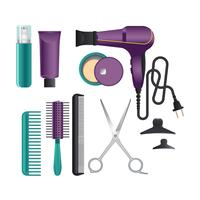 Professional Salon Tools on white Background
