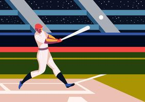Player Playing At Baseball Park vector