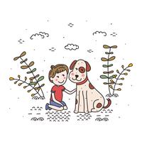 Niño y su perro Vector