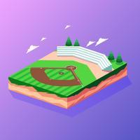 Vector isométrico del parque de béisbol