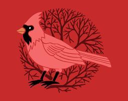 Cardinal tree badge vector