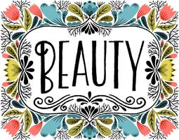beauty lettering floral