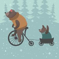 Cute Bear Mom and Baby Vector Illustration