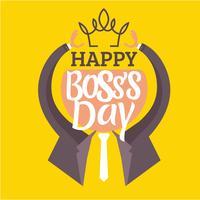 Vectorillustratie van een platte mens met stropdas. Bereik de kroon voor Boss's Day