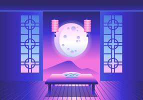 Harvest Moon Happy Chuseok Vector