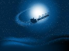 Santa in the night sky vector