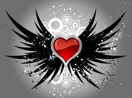 glossy heart on grunge wings  vector