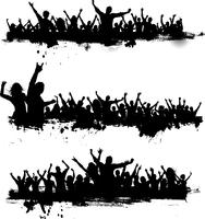 Grunge party crowds vector