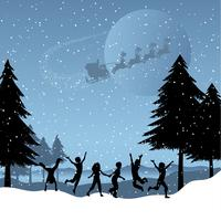 Kinderen spelen met santa in de lucht
