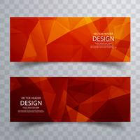 Abstract bright colorful polygon banners set design
