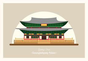 Gyeongbokgung Palace Vykort Vector Illustration