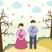 Korean Couple Chuseok Vector