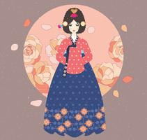 Lady i Hanbok Vector