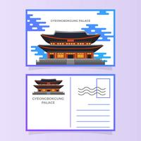 Flat Gyeongbokgung Palace Postcard Vector Illustration