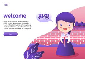 Dame In Hanbok Cartoon Vektor
