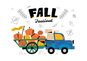 Hayrides Carrying Pumpkins Vector Flat Background Fall Festival