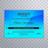 Modern blue certificate design illustration