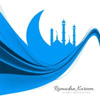 Abstract blue wavy Islamic moon background